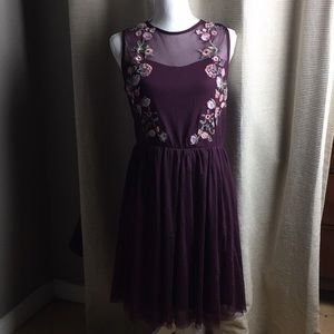 Xhilaration embroidered mesh fit and flare dress